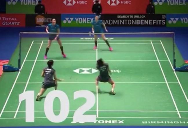 102-shot badminton rally