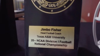 Twitter Destroys Texas A&M For Giving Jimbo Fisher A National Championship Plaque With No Date