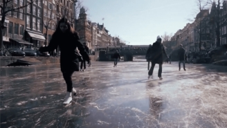 People Are Skating On Amsterdam's Frozen Canals And The Footage Is Stunning