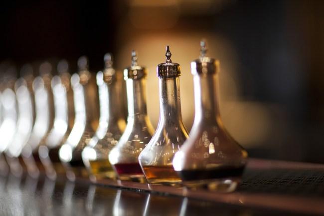 bottles of bitters on bar