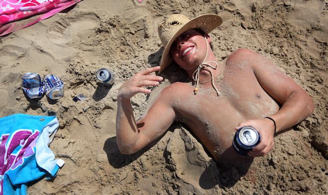 drinking on beach spring break
