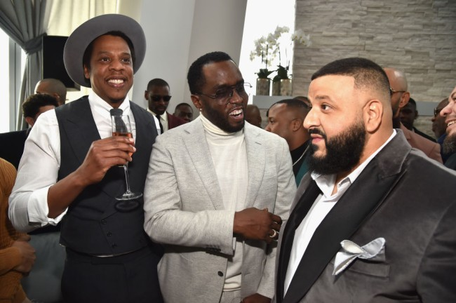 NEW YORK, NY - JANUARY 27:  (L-R) Jay-Z, Sean 'Diddy' Combs and DJ Khaled attend Roc Nation THE BRUNCH at One World Observatory on January 27, 2018 in New York City.