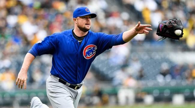 Jon Lester Bouncing Throws First Base