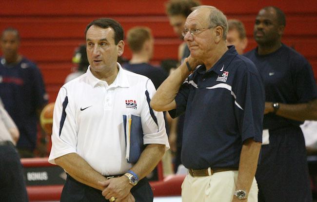 Mike Krzyzewski with Jim Boeheim team usa basketball