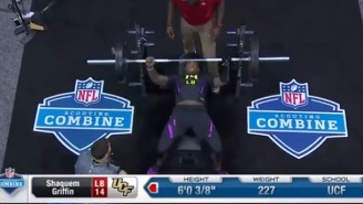 UCF's  Shaquem Griffin, Who Lost His Hand At The Age Of Four, Did 20 Bench Press Reps  While Wearing Prosthetic Arm At The Combine