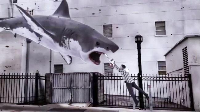 sharknado chainsaw jump