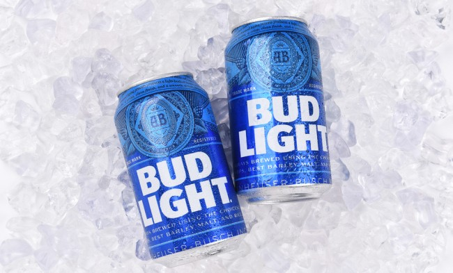 bud light cans on ice