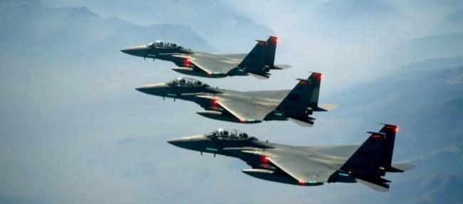 F-15 Jet Fighters Race Solar Eclipse
