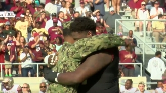 FSU Lineman Derrick Kelly Reunites With Navy Officer Brother He Hasn't Seen In Two Years Before Spring Game