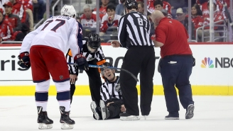 NHL Linesman Suffered A Dislocated Knee Cap And Torn Quad After Awkward Fall In Caps/Blue Jackets Game