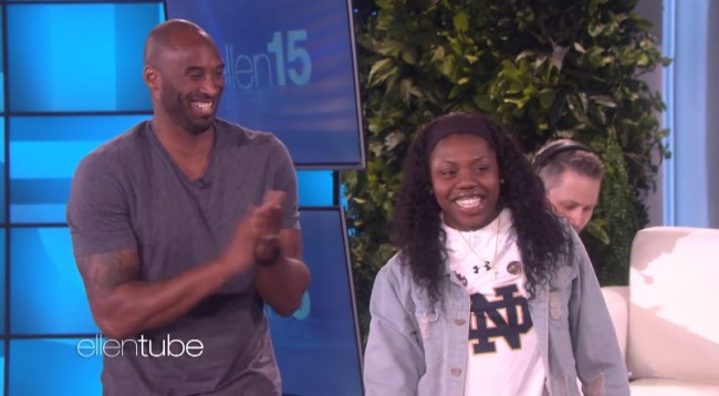 Kobe Bryant Surprises Arike Ogunbowale