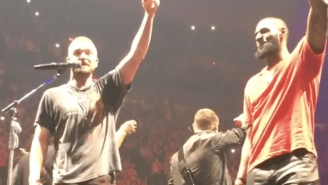 LeBron James And Justin Timberlake Took Shots Together On Stage In Cleveland