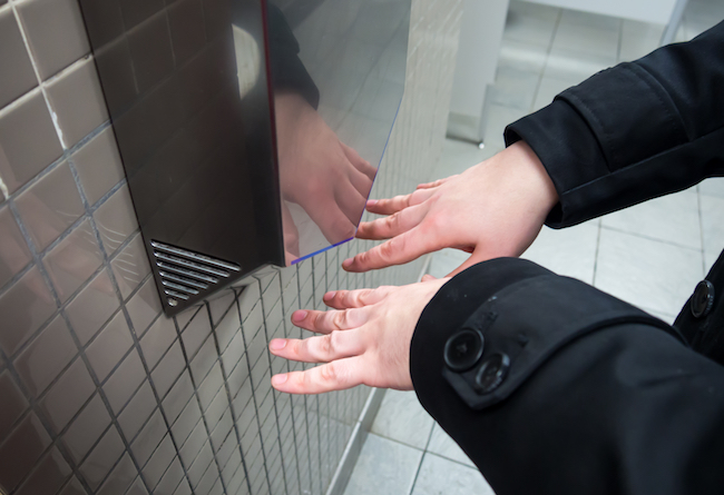 Man drying hands
