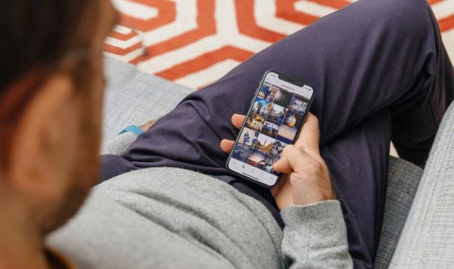 man browsing instagram