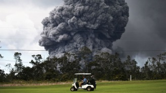 Check Out These Bros Getting In A Little Golf While A Freaking Volcano Erupts In The Distance