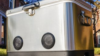 This Badass Steel Belt Cooler Looks Like A Throwback From The '70s And Has Built-In Blue Tooth Speakers