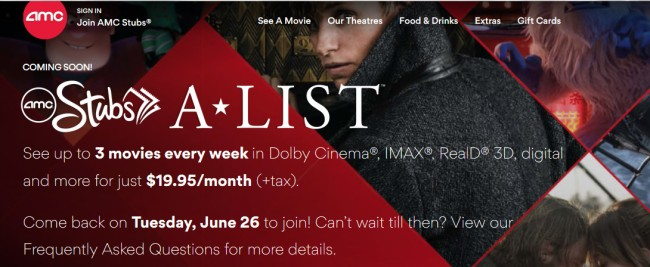 AMC Theatres MoviePass Ticket Subscription Service new