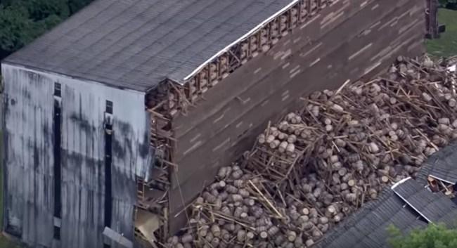 bourbon barrels smashed distillery collapse