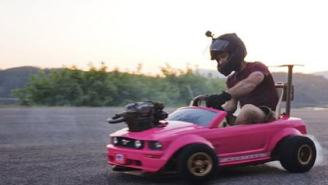Mad Genius Installs Dirt Bike Engine On Power Wheels Barbie Mustang And It Goes 72 MPH