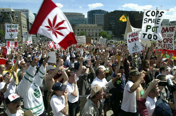 Around 1,000 protesters showed up for the Fill the Hill rally in support of legalizing marijuana on June 5, 2004 on Parliament Hill in Ottawa, Canada. The Supreme Court of Canada recently upheld a decision to keep marijuana as a banned substance.