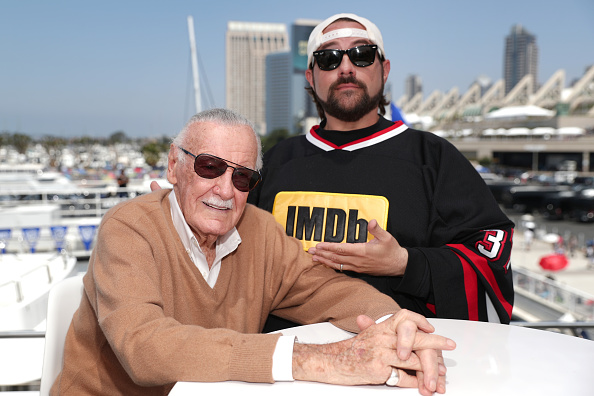 Stan Lee and host Kevin Smith on the #IMDboat at San Diego Comic-Con 2017 on the IMDb Yacht on July 21, 2017 in San Diego, California.