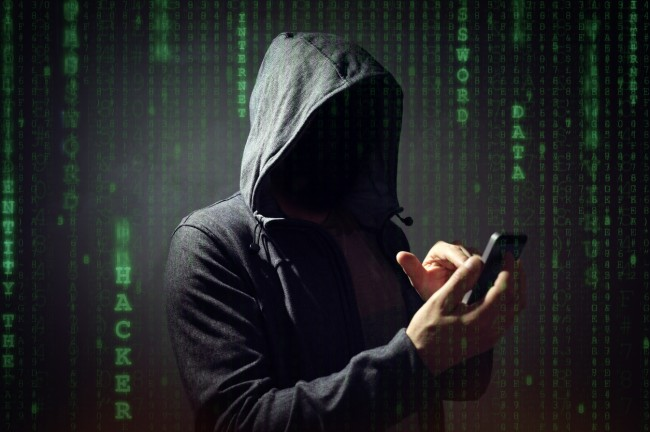 hacker on phone