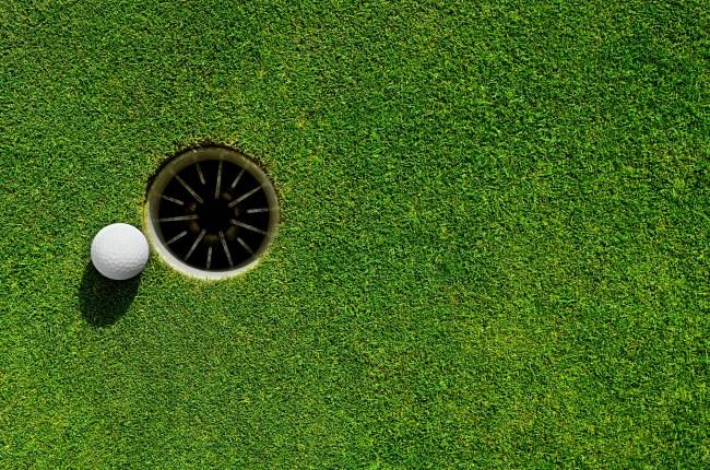 close up golf hole