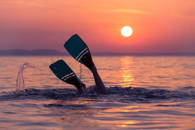 swimmer with fins
