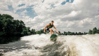 Some Genius Figured Out How To Use A Beer Pong Table As A Wakeboard