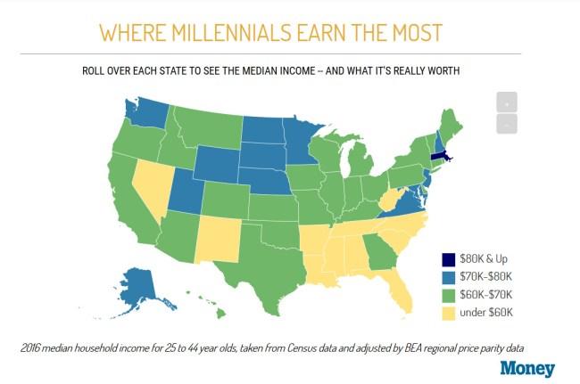 Map What Millennials Earn Each State America