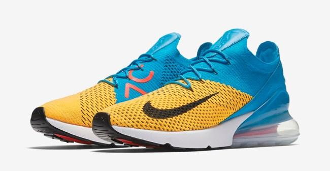 Nike Air Max 270 Flyknit Blue Orbit Laser Orange