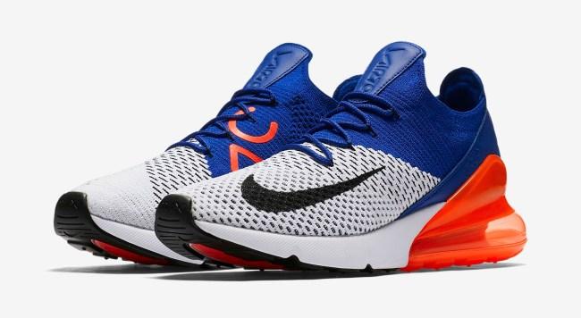 Nike Air Max 270 Flyknit Racer Blue Laser Orange