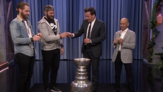 Ovechkin, Braden Holtby, Jimmy Fallon, And Jockey Mike Smith Drink Together From The Stanley Cup