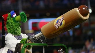 The Phillie Phanatic Accidentally Blasted A Fan In The Face While Using A Hot Dog Cannon
