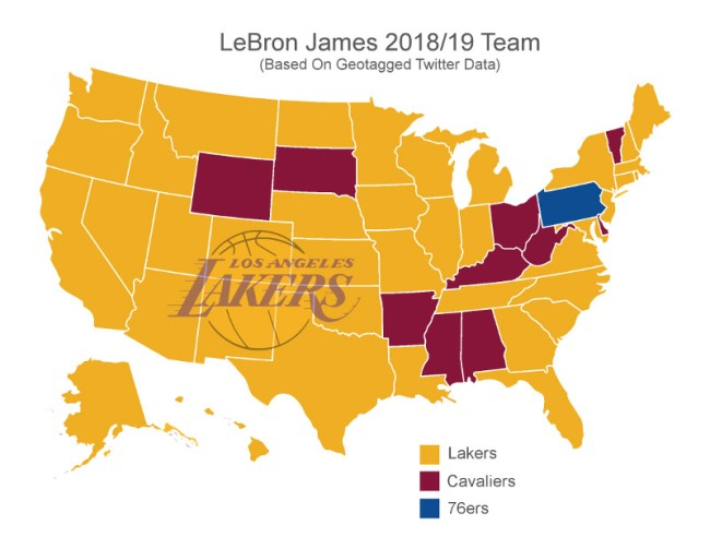 Twitter Map Each State Lebron James Team