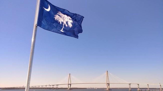 charleston Arthur Ravenel Jr. Bridge south carolina flag