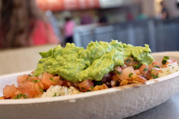 Guacamole sits on a dish at a Chipotle restaurant on March 5, 2014 in Miami, Florida. The Mexican fast food chain is reported to have tossed around the idea that it would temporarily suspend sales of guacamole due to an increase in food costs. (Photo by Joe Raedle/Getty Images)