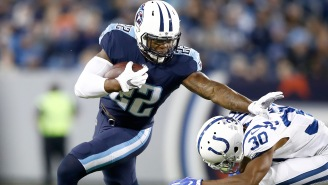 This Photo Of Titans' RBs Derrick Henry And Dion Lewis Standing Next To Each Other Is Lighting Up The Internet