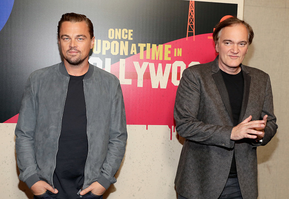 Leonardo DiCaprio (L) and director Quentin Tarantino attend the CinemaCon 2018 Gala Opening Night Event: Sony Pictures Highlights its 2018 Summer and Beyond Films at The Colosseum at Caesars Palace during CinemaCon, the official convention of the National Association of Theatre Owners, on April 23, 2018 in Las Vegas, Nevada.  (Photo by Isaac Brekken/Getty Images for CinemaCon )