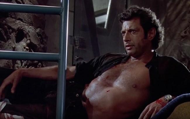 Jeff Goldblum shirtless statue jurassic park london