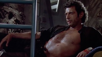 A Giant Shirtless Statue Of Jeff Goldblum From 'Jurassic Park' Showed Up In London