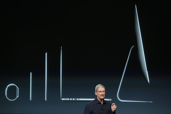 Apple CEO Tim Cook speaks during an event introducing new iPads at Apple's headquarters October 16, 2014 in Cupertino, California.