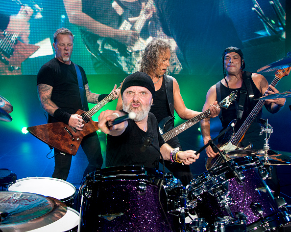 HATO REY, PUERTO RICO - OCTOBER 26: James Hetfield, Lars Ulrich, Kirk Hammett, and Robert Trujillo of Metallica perform at Coliseo de Puerto Rico on October 26, 2016 in Hato Rey, Puerto Rico. (Photo by Jeff Yeager/Metallica/Getty Images)