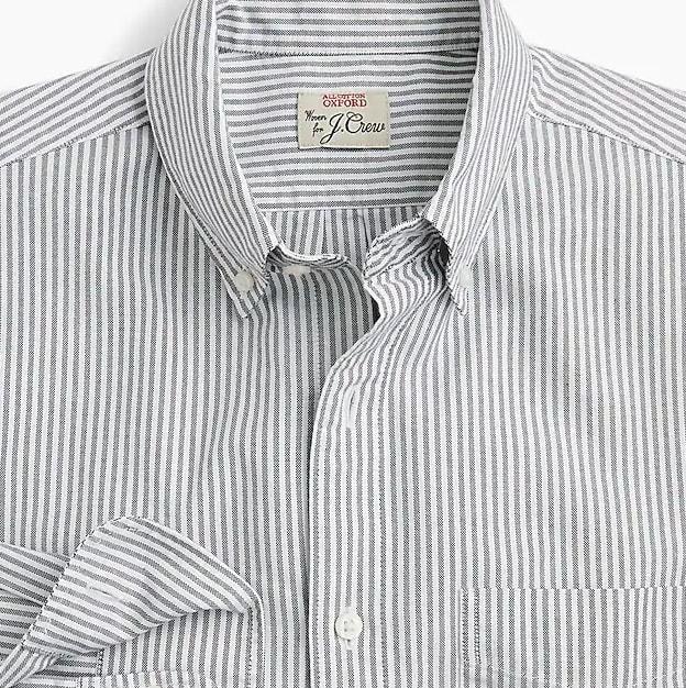 Slim American Pima cotton oxford shirt with mechanical stretch in stripe