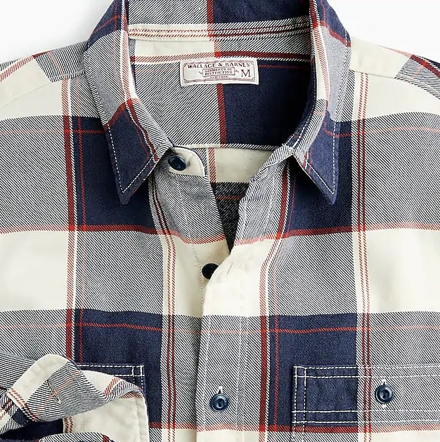 Wallace & Barnes midweight flannel shirt in bold stripe plaid
