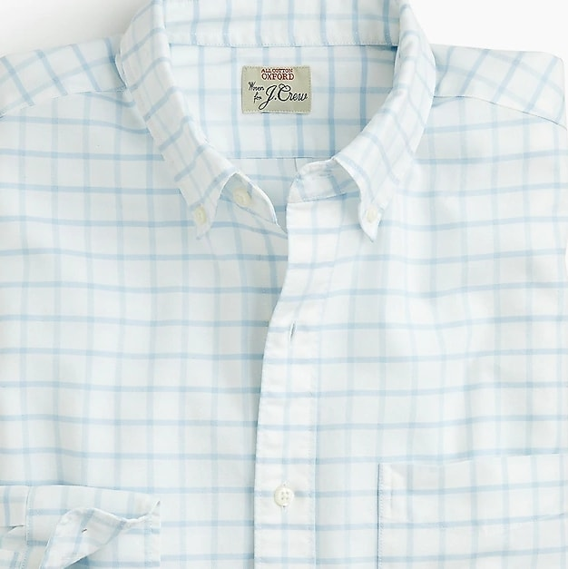 American Pima cotton checked oxford shirt with mechanical stretch