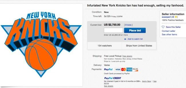 knicks fan auctioning allegiance ebay