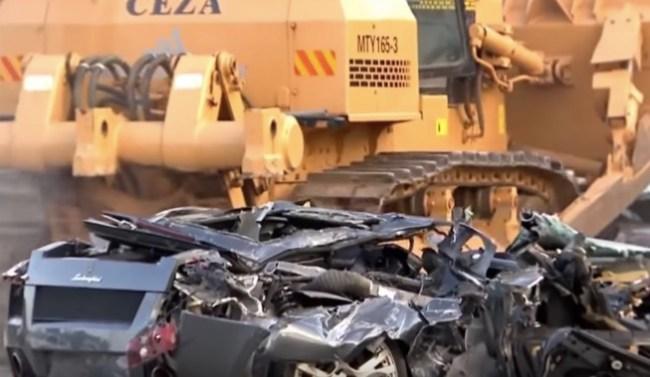 bulldozer destroys lamborghini