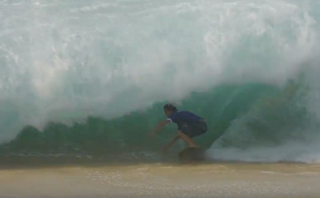 Lucas Fink skimboarding giant waves Cabo