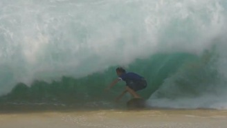 These Pro Skimboarders Riding Into Giant Waves Off Cabo Get Crushed On The Sand